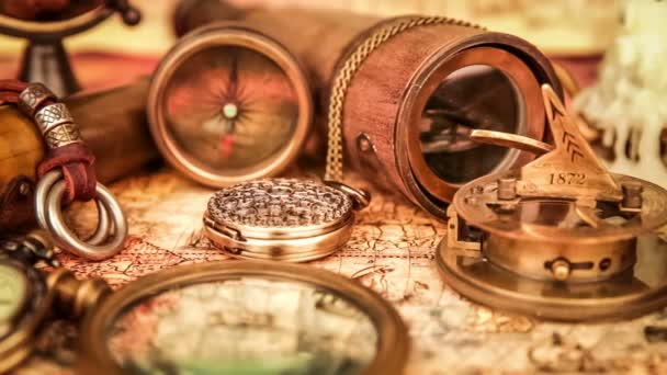 Vintage travel objects on ancient map