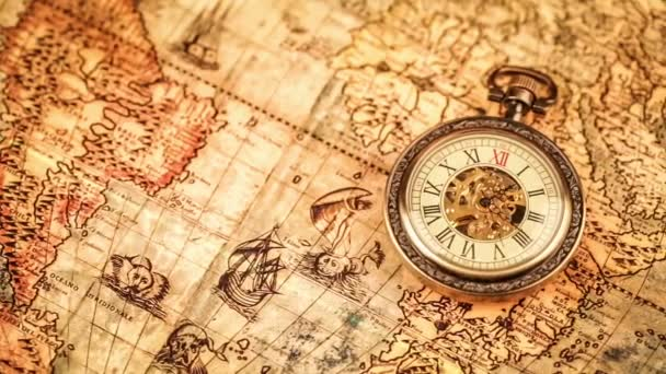 Pocket watch on ancient map
