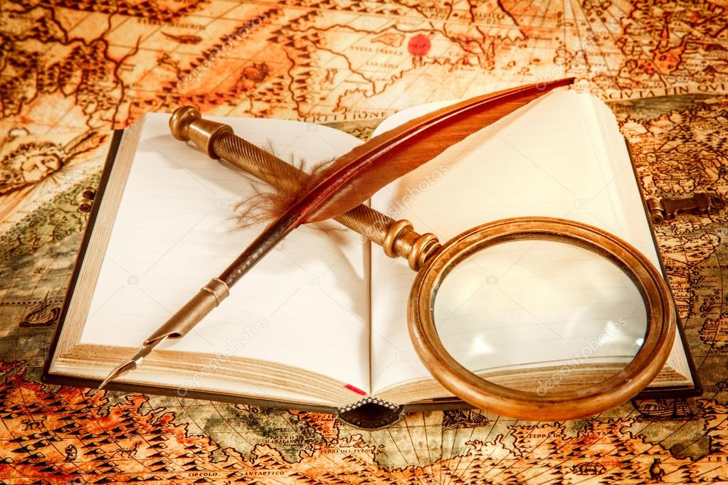 Vintage Magnifying Glass Lies On An Ancient World Map Stock Photo C Cookelma 87017766