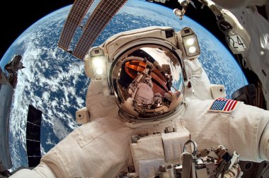 International Space Station and astronaut