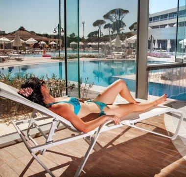 Women on a sun lounger