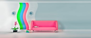 modern room with pink sofa, sconce and grey wall