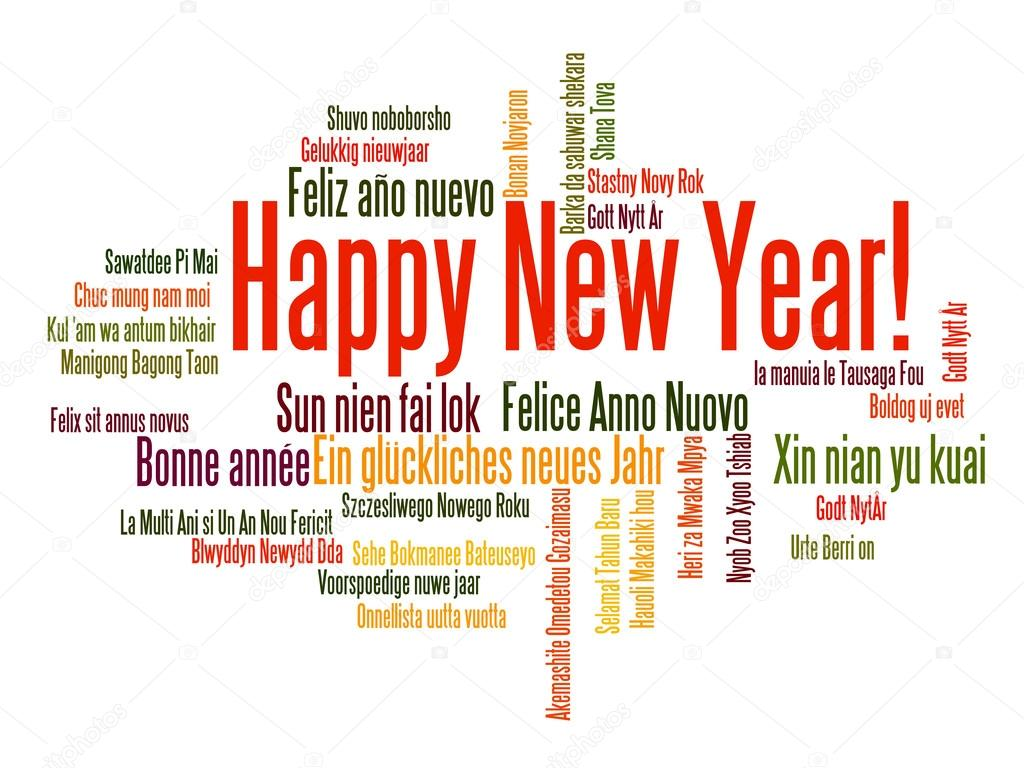 happy new year word cloud stock vector