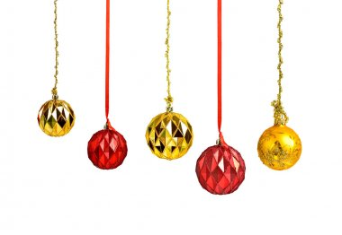 Hanging christmas red and golden