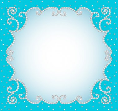 background frame with pearls and precious stones
