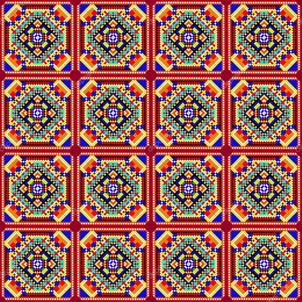 Mosaico incons til de ornamentos geom tricos con cuadrados de colores y archivo im genes - Mosaico de colores ...