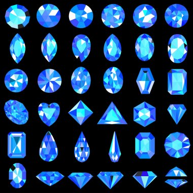 set of blue gems of different cuts and shapes