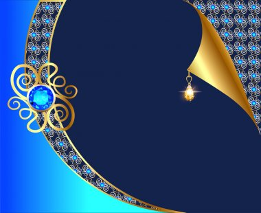 background with curled corner and gold with  ornaments and pendants