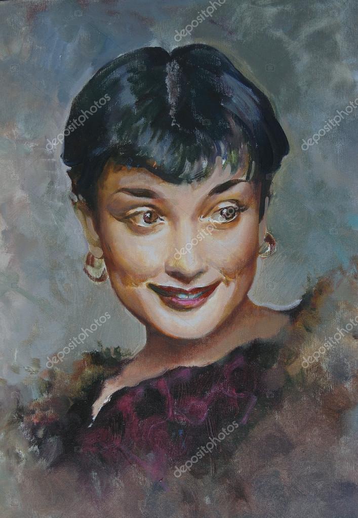 Portrait of Audrey Hepburn, painting