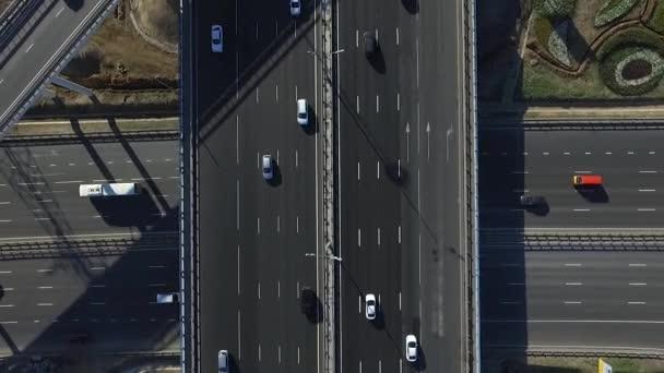 Letecký pohled na dálnici výměny v Moskvě, Rusko