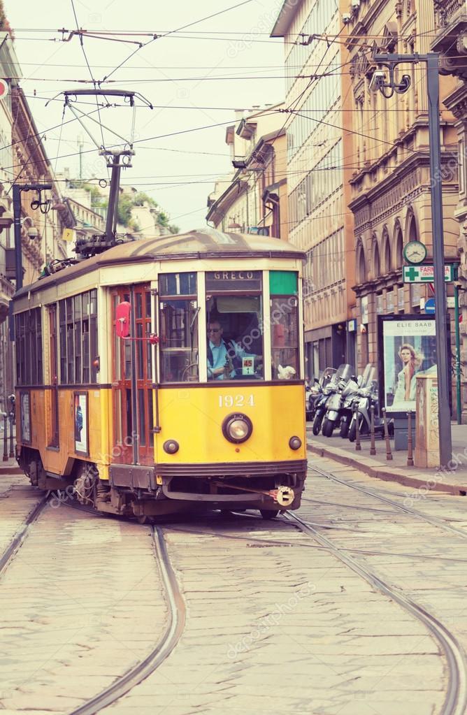 Wooden tram in Milan