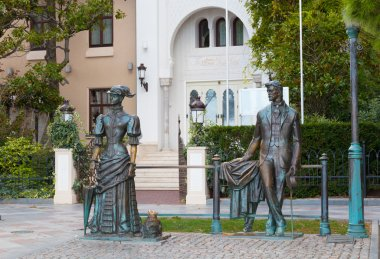 Sculpture Anton Chekhov and the Lady with Dog in Yalta, Crimea