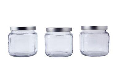 Empty jars with aluminum lids