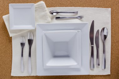 Option table setting with square plates