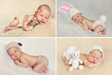 Peaceful sleep of a newborn baby,a collage of four pictures