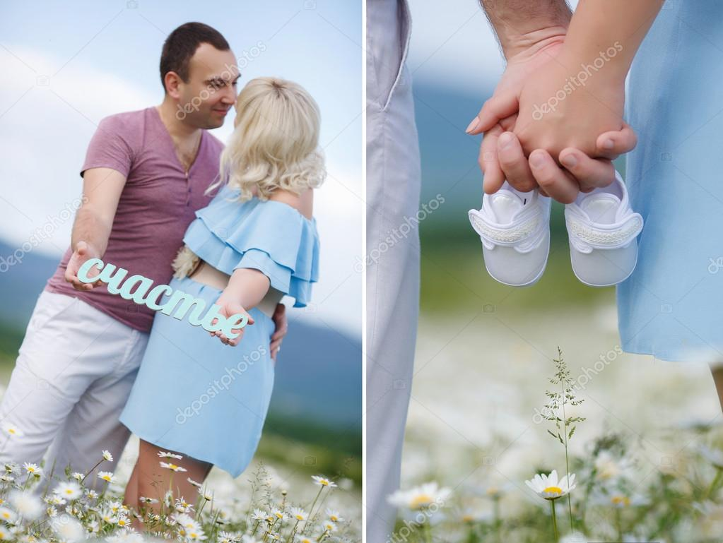 A collage of two photos of the expectant mother with the white booties