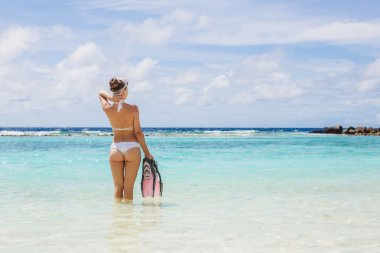 Woman with snorkeling outfit