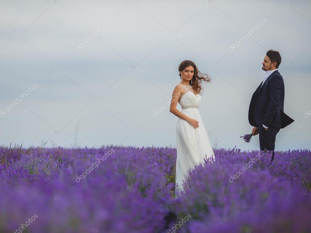 Wedding lavender field. — Stock Photo © golyak #58278893