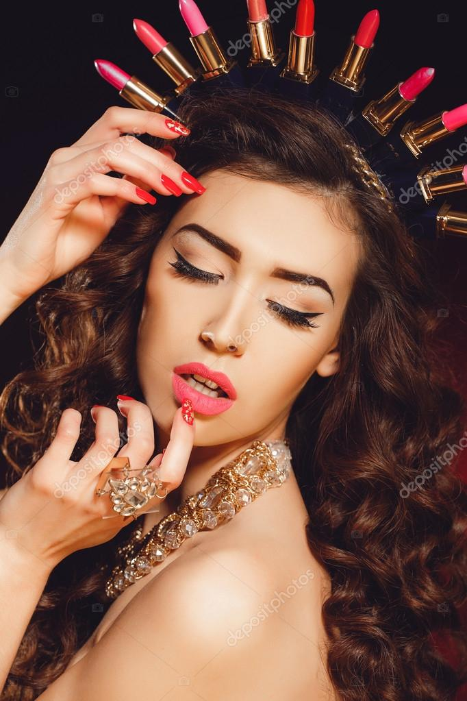 Elegant Queen Female Face With Red Lips And Black Eye Makeup Stock