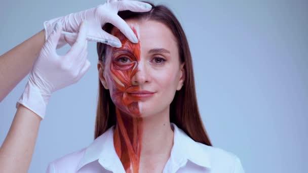 Kozmetikai injekció az arcba. Fiatal nő fél arccal, izmos szerkezettel a bőre alatt. Fényes hátterű orvosi képzés modellje. Szoros videó az arc emberi anantomiáról.