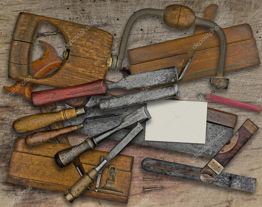 Outils De Menuiserie Vintage Sur Banc En Bois Carte Visite Pour Votre Texte Image RedDaxLuma