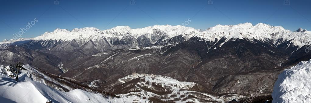 View of main Caucasian ridge from top of Rose Peak. Sochi, Russia