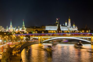 Night View of Moscow River and Kremlin
