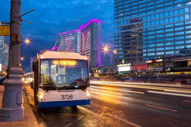 Trolleybus on New Arbat Street in evening. Moscow. Russia