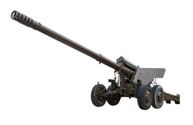 Artillery gun on a white background