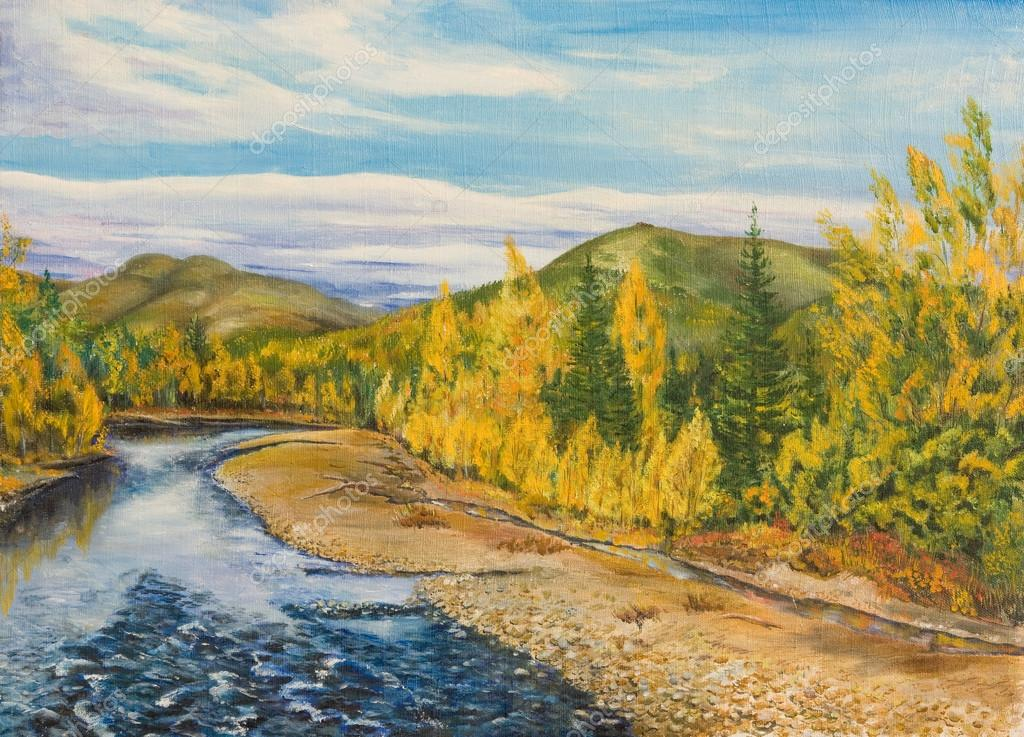 Autumn landscape with river ,taiga and mountains