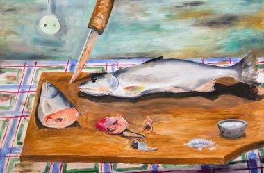 Frozen fish on a cutting board