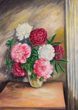 Bouquet of peonies in a vase