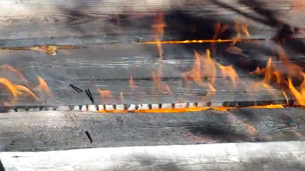 wooden wall on fire