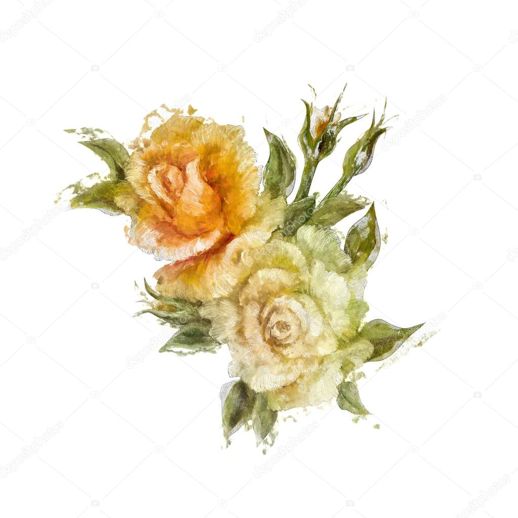 Vintage style white and yellow roses.