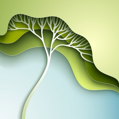 Vector illustration with stylized tree