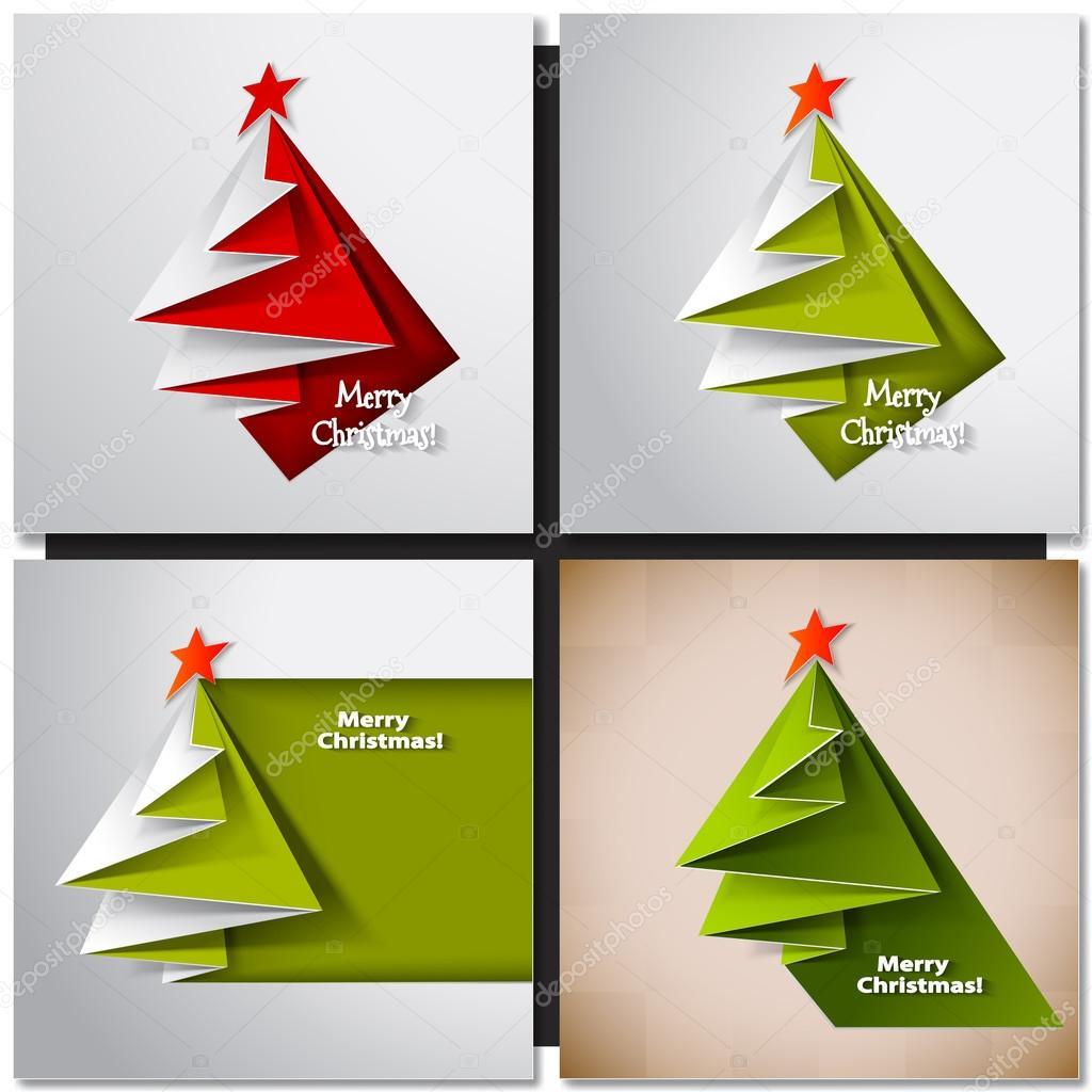 Cart o de rvore de natal origami de vetor vetor de - Arbol de navidad de origami ...