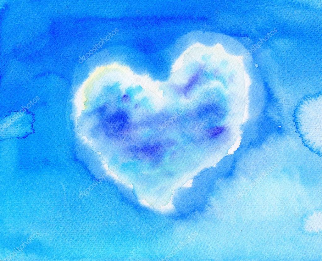 Blue sky with heart shaped cloud