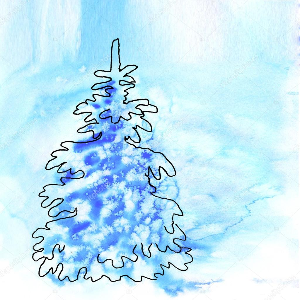 Blaue weihnachten aquarell hintergrund mit schneeflocken stockfoto valenty 92044394 - Aquarell weihnachten ...