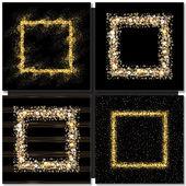 Fotografia Insieme dei telai quadrati dorati su priorità bassa nera