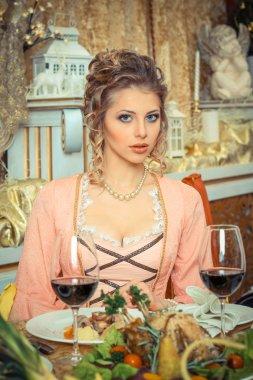 Vintage beautiful girl in restaurant