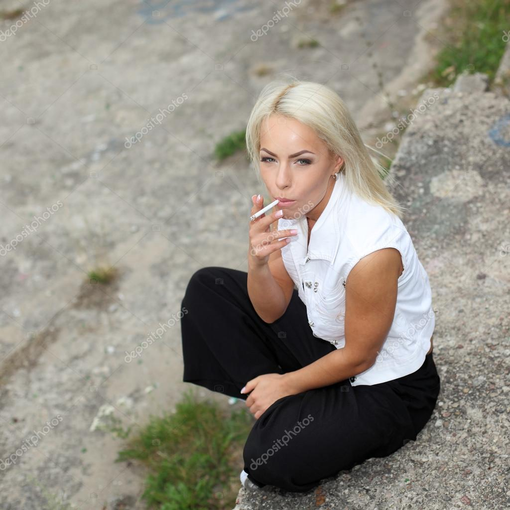 blonde smoking