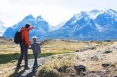 family hiking in patagonia