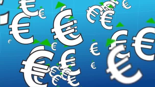 Vzrůstající kurz eura. Po zorném poli fotoaparátu se točí oblak symbolů eura. Nad symbolem je zelená šipka. Situace nárůstu směnného kurzu eura.