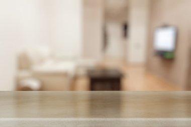 Desk in blurred living room
