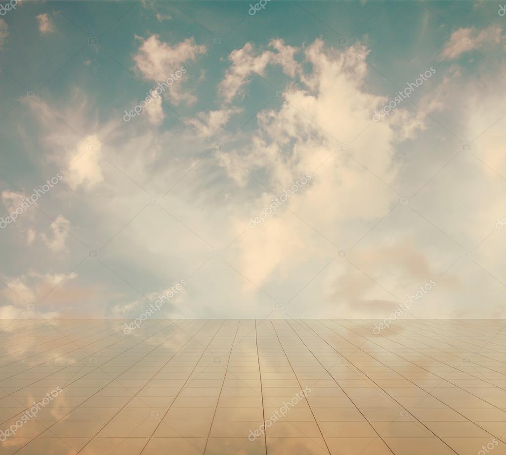 blue sky and miror floor