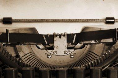 vintage typewriter machine with paper