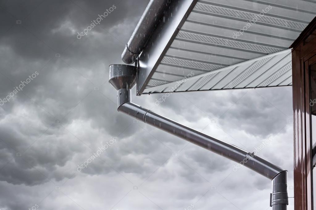 home drainpipe during rain