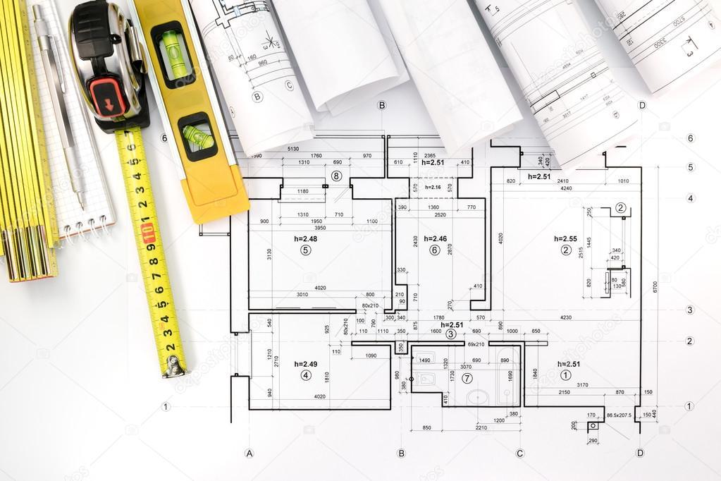 Rollos de planos arquitect nicos y plan de la casa con for Planos tecnicos arquitectonicos