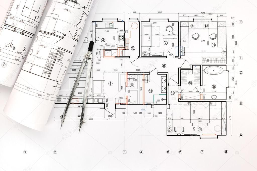 architektonische Blaupause rollt mit dem Kompass zeichnen ...