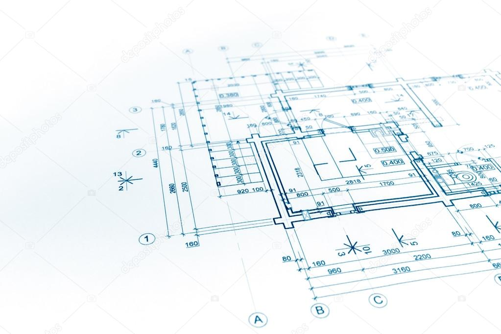 Exceptional Blueprints Background With Technical Drawing Of Construction Pla U2014 Stock  Photo